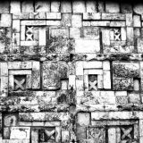 Gemauertes Relief von der Mayastätte Uxmal in Yucatán, Mexico