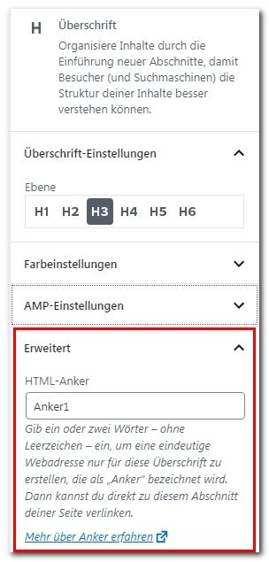 Anker und Sprungmarken in WordPress - einfach ein Inhaltsverzeichnis erstellen
